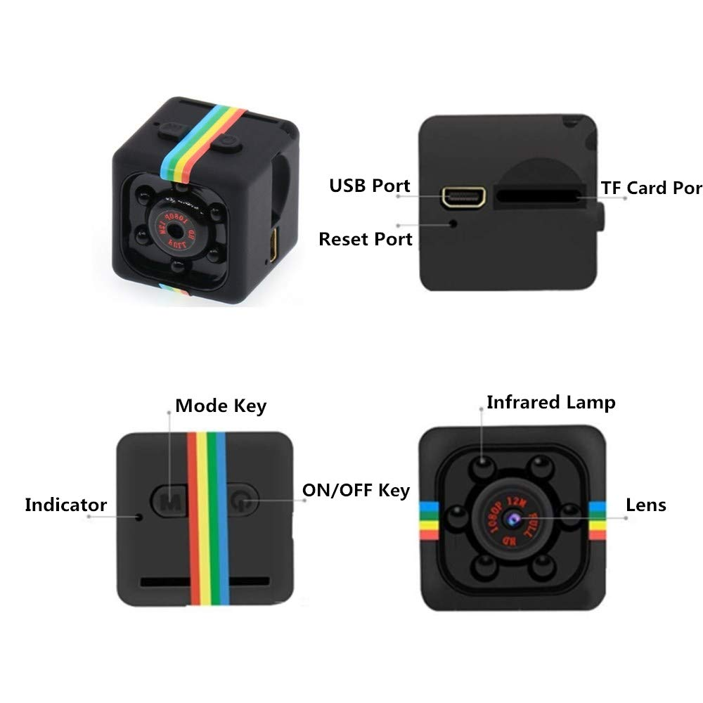 TFCard Not Included 860666 Mini Spy Camera Wishpower Mini Hidden Spy Video Recorder//Camera//HD Secret Video Recorder with Night Vision//Built in Microphone and Motion Detection,Micro Covert Security Camera.