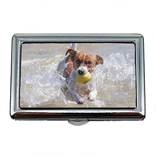 Tennis Business Cards - Cigarette Case Box,Dog Action Racing Jack Russell Water Tennis,Business Card Holder Business Card Case Stainless