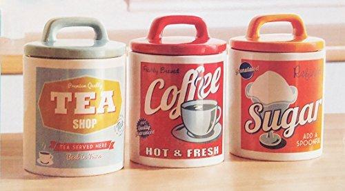 Vintage Home Retro Set 0F 3 Classic 50'S Style Tea Coffee & Sugar Ceramic Jars
