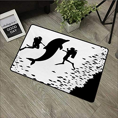 - Door mat W35 x L59 INCH Dolphin,Two Scuba Divers and Giant Fish Silhouette Swimming Close to The Reef Monochrome,Black White Non-Slip, with Non-Slip Backing,Non-Slip Door Mat Carpet