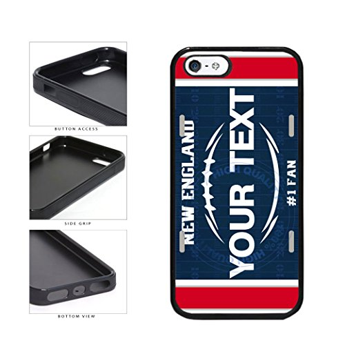 BleuReign(TM) Personalized Custom Name Football New England License Plate TPU RUBBER SILICONE Phone Case Back Cover For Apple iPhone 5 5s and iPhone SE