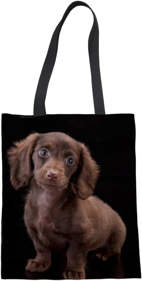 Bolso de lona de algodón con diseño de perro salchicha Nopersonality para mujeres, adolescentes y niñas Large Dachshund12