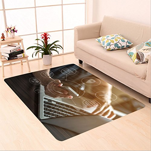 Sophiehome skid Slip rubber back antibacterial  Area Rug internet marketing and online banking payment on mobile smart device app via digital communication 519983509 Home Decorative by sophiehome