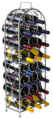 Rack Style Cabinets - Sorbus Wine Rack Stand Bordeaux Chateau Style - Holds 23 Bottles of Your Favorite Wine - Elegant Looking French Style Wine Rack to Compliment Any Space - No Assembly Required (Silver)