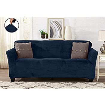 Amazon Com Soft Micro Suede Solid Navy Blue Loveseat