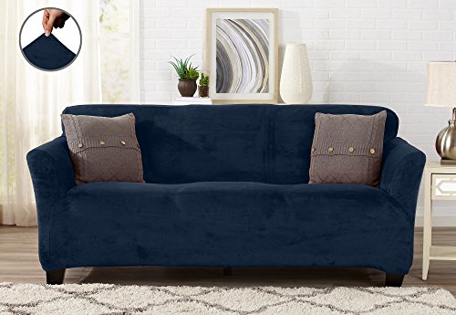 Modern Velvet Plush Strapless Slipcover. Form Fit Stretch, Stylish Furniture Cover / Protector. Gale Collection by Great Bay Home Brand. (Sofa, Dark Denim Blue)