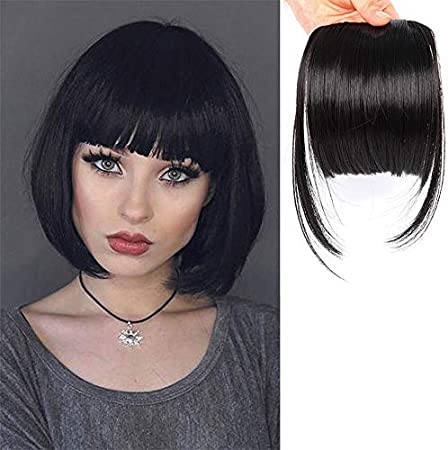 Leeons Clip On Bangs Black Fringe Hair Extensions 6 Short Straight Clips In Hair Bang False Flat Hairpiece Two Side 1b Amazon Ca Beauty