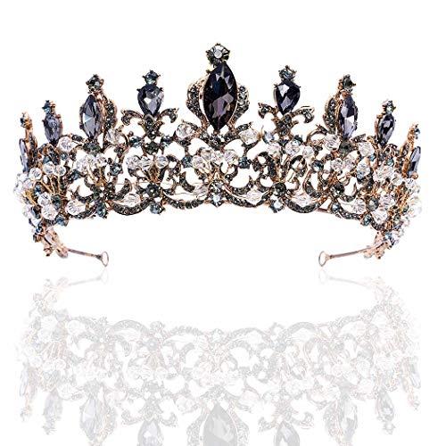 Brishow Baroque Queen Crowns Gold Princess tiaras Black