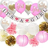 Anezus Pink and Gold Baby Shower Decorations with It's A Girl Banner Tissue Paper Pom Poms Balloons for Girl Baby Shower