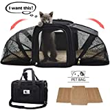 CACA Soft-Sided Pet Carrier, Pet Handbag Portable Airline Approved, Two Sideds Expansion Pet Case with Washable Bedding, Collapsible Pet Travel Carrier on Trolley Case for Small Dogs&Cats