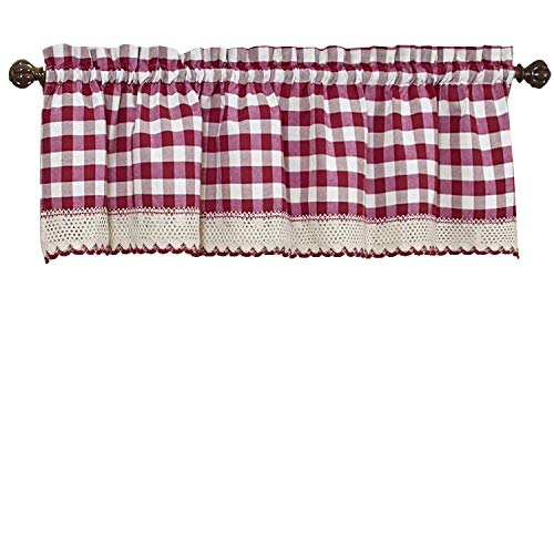 GoodGram Buffalo Check Plaid Gingham Custom Fit Window Curtain Treatments Assorted Colors, Styles & Sizes (Single 14 in. Valance, (Red Plaid Valance)