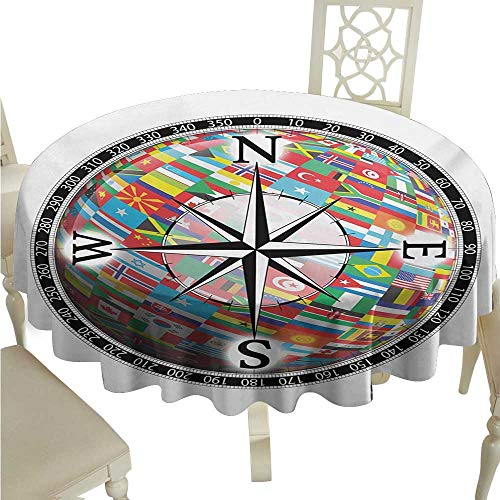 Family Unity Medallion - Wrinkle Resistant Tablecloth Compass Flags of The Globe Inside a Compass and Windrose Various Nations Unity Image Excellent Durability D60 Suitable for picnics,queuing,Family