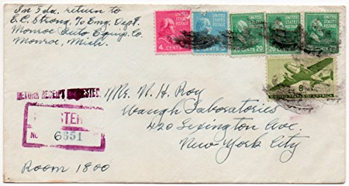 (US Postal Cover 1946 Registered Return Receipt With Postage Stamps Scott #808,810, 825, and C26)