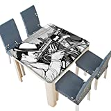 PINAFORE Table in Washable Polyeste Jazz Band Playing The Blues in New York in The Molight Retro Banquet Wedding Party Restaurant Tablecloth 53 x 53 INCH (Elastic Edge)