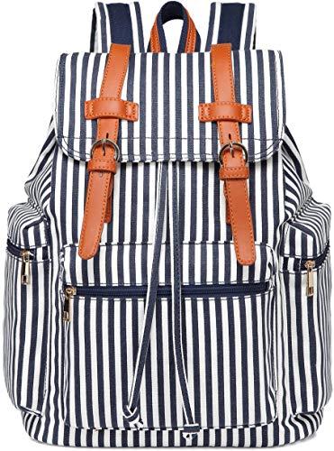 - School Backpack Women Girls College Bookbag Canvas Travel Rucksack 15.6 inch Laptop Bag (White Blue stripe)