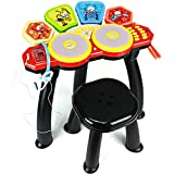 Toyshine Big Size 6 Drum Surface Drum Set Toy, USB Option Available, Microphone and Stool Included