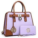 Dasein Women's Designer Handbags Padlock Belted Satchel Bags Top Handle Handbag Purse Shoulder Bag w/Matching Wallet (02-6892 Simple Color Light Purple)