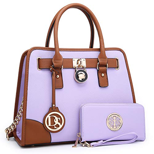 Dasein Women's Designer Handbags Padlock Belted Satchel Bags Top Handle Handbag Purse Shoulder Bag w/Matching Wallet (02-6892 Simple Color Light - Handbag Tote Belted