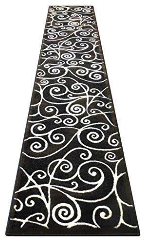 Modern Runner Area Rug Design GL 23 Black Brown Ivory (32 Inch x 10 Feet)