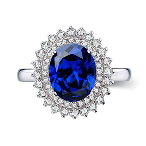 Chic Code 3.5ct Ideal-Cut & Royal Blue Sapphire in 18K Gold Plated Sterling Silver Halo Engagement Ring for (Engagement Ring Setting Platinum Sapphire)
