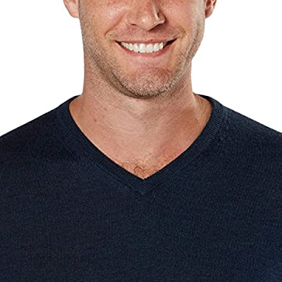 Calvin Klein Men's Merino Solid V-Neck Sweater (XX-Large, Zimone Blue)
