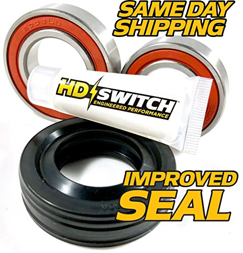 ((1 Kit) Whirlpool Cabrio Bravo Oasis Washer Tub Bearing & Seals Kit W10435302 - Hi Temp Grease Upgrade - HD Switch)