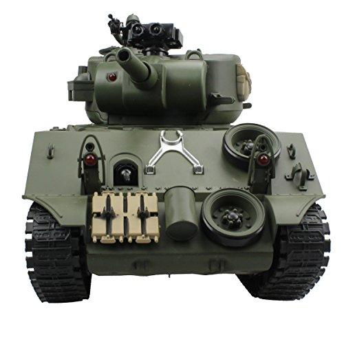 Fisca Remote Control Tank, 2 4Ghz 15CH 1/20 Sherman M4A3 Main Battle RC  Tank That Shoot Airsoft for Boys Age 10 11 12-16 Year Old