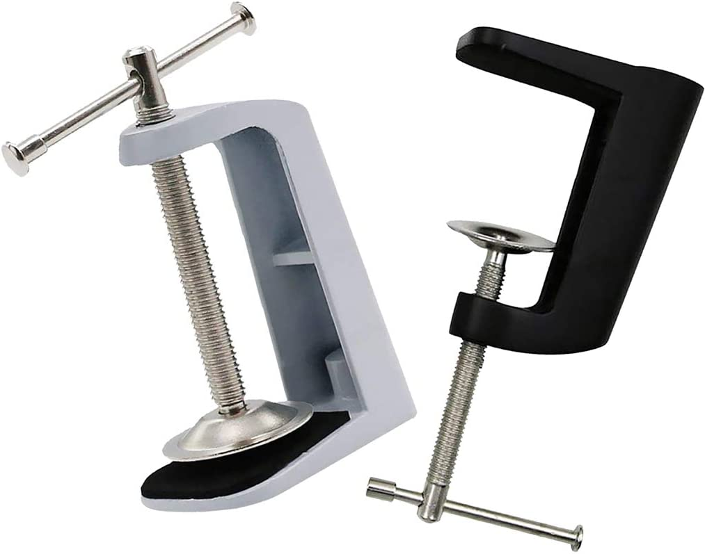 Accessori Antiscivolo Supporto Portatile in Acciaio Inox Morsetto per Lampada da Tavolo scrivania Braccio oscillante Silver Base Fissa Taglia Libera