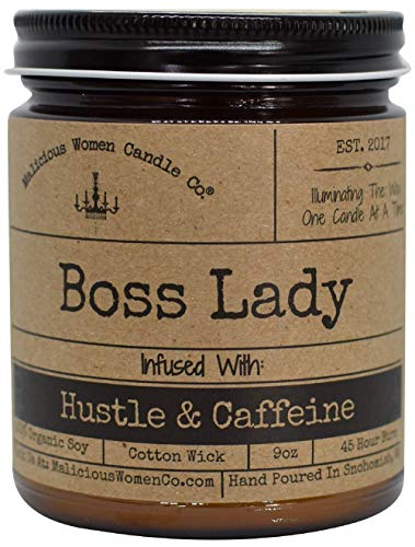 Malicious Women Candle Co - Boss Lady, Expresso Yo' Self Infused with Hustle & Caffeine, All-Natural Organic Soy Candle, 9 oz