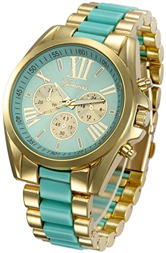 Fanmis Roman Numeral Gold Plated Metal Nylon Link Analog Disply Watch - Turquoise