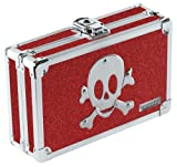Vaultz Locking Pencil Box, 8.25 x 5.5 x 2.5 Inches, Ruby Bling with Skull (VZ01480)