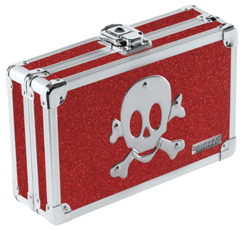 Vaultz Locking Pencil Box, 8.25 x 5.5 x 2.5 Inches, Ruby Bling with Skull (VZ01480)