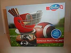 Emmi Fondue Party Helmet (Football Helmet Fondue) With Bread Basket, Base/Burner, and 6 Fondue Forks For Cheese or Chocolate