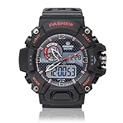 Outdoor Sport Watch for Men & Women, Analog & Digital Quartz, Multifunctional With Chronograph, EL Backlight, Alarm Clock & Stopwatch, Durable Wrist Strap, 30m Water Resistant Red