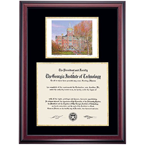 Campus Linens Georgia Tech Yellow Jackets Diploma Frame Black Gold Matting Watercolor (Georgia Tech Diploma Frame)