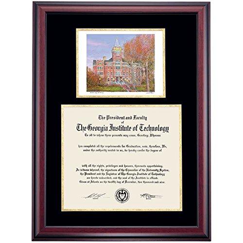 Campus Linens Georgia Tech Yellow Jackets Diploma Frame Black Gold Matting Watercolor