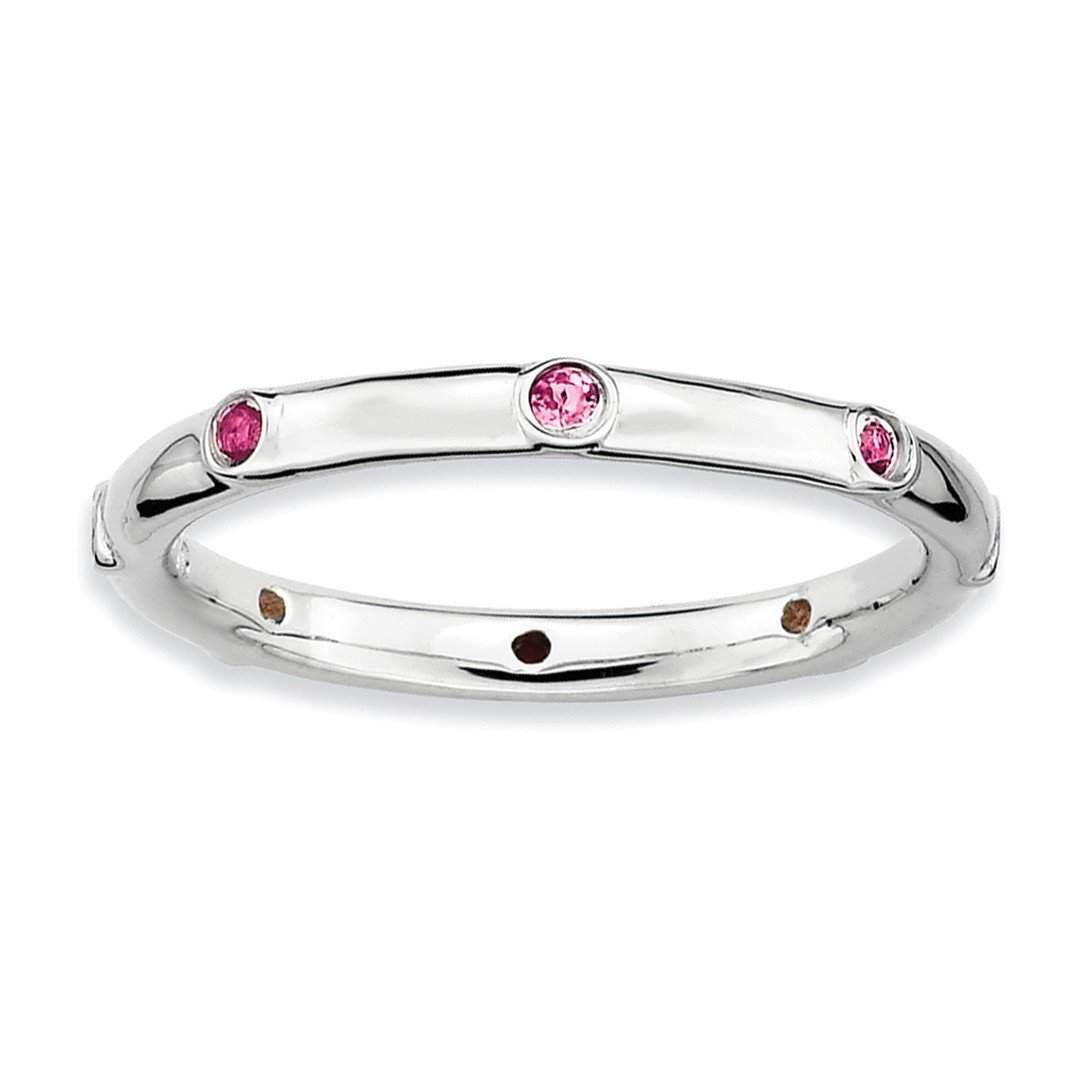IceCarats® Designer Jewelry Sterling Silver Stackable Expressions Pink Tourmaline Ring
