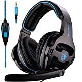 GW SADES Newly SA810 Over Ear Stereo Bass Gaming Headset Headphones with Noise Isolation Microphone for New Xbox One/PC/PS4/Laptop/Phone(Black/Blue)