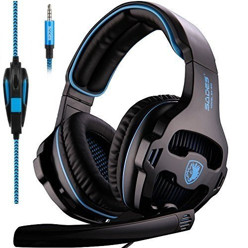 SADES SA810 New Xbox One PS4 Gaming Headset Over-ear Bass PC Gaming Headphones Noise Isolating Leather Earmuffs with Microphone for Playstation4 / Mac / PC / Laptop (Black&Blue)
