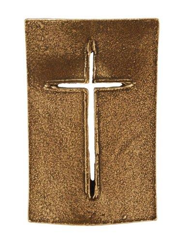 Stehkreuz »Schild« aus Bronze, Standkreuz, Tischkreuz, 8,5 x 5,5 cm