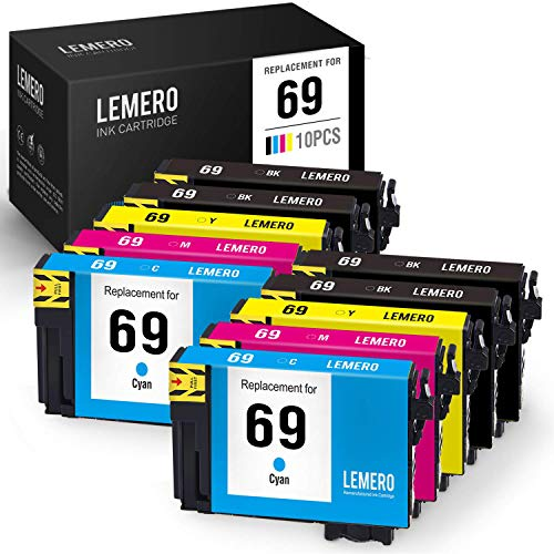 LEMERO Remanufactured Ink Cartridge Replacement for Epson 69 T069 for Workforce 600 610 500 310 315 30 Stylus CX8400 NX300 NX200 NX515 NX215 NX400 (4 Black, 2 Cyan, 2 Magenta, 2 Yellow, 10 Pack) (Epson Ink Cartridges For 310)