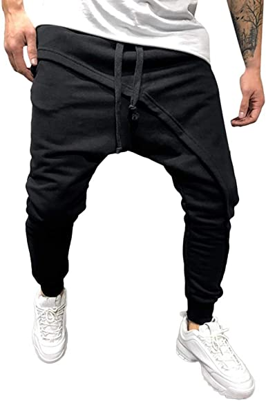Men Drawstring Sweatpants Harem Trousers Sports Joggers Tracksuit Bottoms Pants