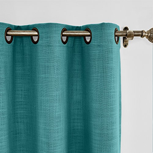 ChadMade 84W x 102L Inch Everglade Teal Faux Linen Curtain Drapes with Blackout Lining, Room Darkening Antique Bronze Grommet Curtain for Sliding Glass Door Patio Door Living Room (1 Panel)