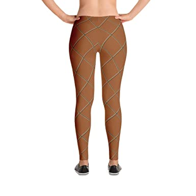 523215dffa0e9a Image Unavailable. Image not available for. Color: Ice Cream Waffle Cone  Adult Leggings Halloween Costume Theater Dress Up Mascot Brown Grid Check  Pattern