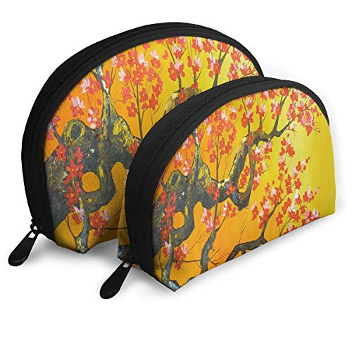 Makeup Bag Original Flowers Oil Painting Trees Portable Shell Makeup Case For Girls Travel 2 -