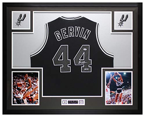 George Gervin Autographed Black San Antonio Spurs Jersey - Beautifully Matted and Framed - Hand Signed By George Gervin and Certified Authentic by PSA - Includes Certificate of Authenticity