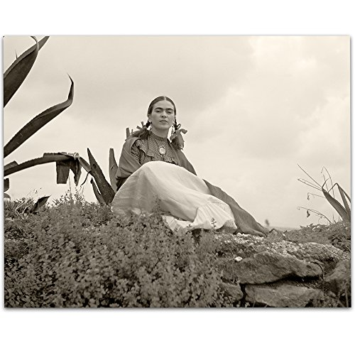 Lone Star Art Rare Frida Kahlo Photo Seated Outside - 11x14 Unframed Print - Perfect Vintage Southwest Home Decor by Lone Star Art