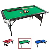 GSE Games & Sports Expert Green 6-Ft Deluxe Folding Billiard Pool Table with Set of Pool Balls, 2 Pool Cues, and Accessories