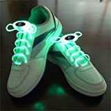 Welsun Green LED Luminous Shoelaces 80cm Glow Shoelaces LED Sport Shoe Laces Glow Stick Flashing Neon Luminous Laces 1 Pair