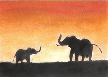 Diseño de elefantes de puesta de sol Pastel tizas para tacos de ...